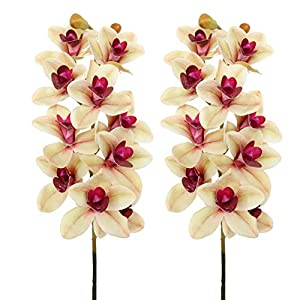 Jasming Artificial Leaves Green Plants Real Touch Cymbidium Orchid Fake Branches for Garden Home Decoration