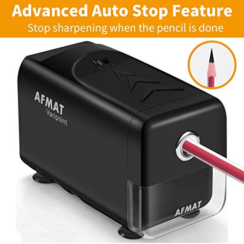 AFMAT Heavy Duty Pencil Sharpener, Electric Pencil Sharpener Commercial, Auto Stop, Super Sharp & Fast & Quiet, Industrial Pencil Sharpener for 6-8mm No.2/Colored Pencils/Office/Home/Classroom Photo #4