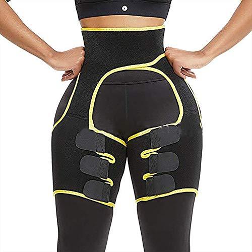 ECHOINE Body 3-in-1 Waist Thigh Trimmer Weight Loss Butt Lifter Trainer Slimming Belt Shapewear Yellow