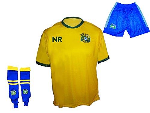 Spielfussballshop Brasilien Trikot Hose Stutzen mit Wunschname Nummer Kinder Größe 134