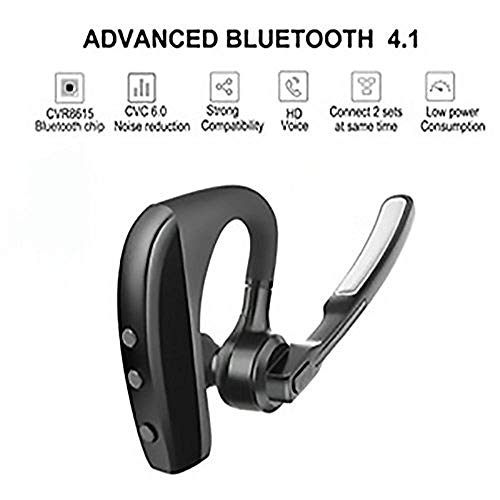 AUXBLUE Bluetooth Headset Wireless Handsfree Earpiece Headphone Active Noise Cancelling Double Digital MIC Cell Phone Trucker Business Office (Black) (MIC-Out)