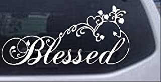 Rad Dezigns Blessed with Swirls Hearts Christian Car Window Wall Laptop Decal Sticker - White 5in X 10.7in