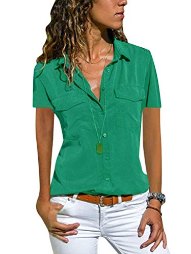 Minetom Damen Basic Blusen Taillierte Kurzarm Damenbluse V-Ausschnitt Shirt Hemd Casual Bluse Einfarbig Oberteil Hemdbluse Shirtbluse Ärmellose Tank Top Weste B Grün 38