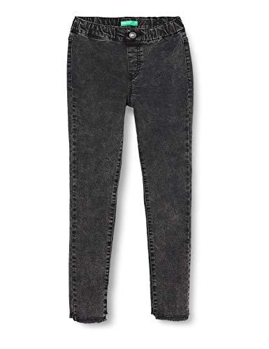 United Colors of Benetton Mädchen Jeggings Stampa Fondo Sfrangiato Jeans, Schwarz (Nero 700), 164 (Herstellergröße: KL)