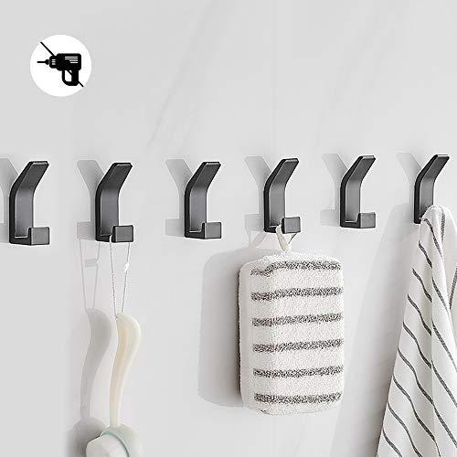 Bogeer 6 Stück Handtuchhaken,klebehaken Wandhaken halterung Für Kleiderschrank Bad Toilette Handtuch Haken,Wasserdicht, Ohne Bohren,Schwarz.