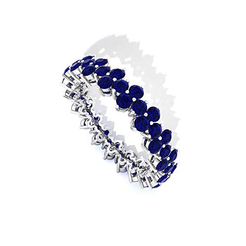 Minimal 2.85 CT SGL Certified Sapphire Diffused Anniversary Ring, Floral Gemstone Cluster Bridal Wedding Eternity Ring, September Birthstone Promise Rings, 14K Yellow Gold, Size:UK X1/2