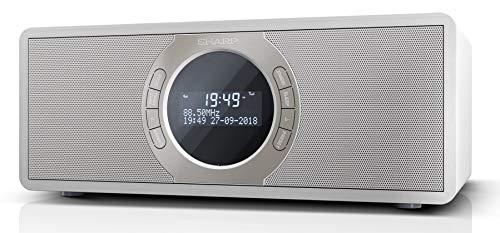 SHARP DR-S460 (WH) Stereo Digitalradio/DAB, DAB+, Bluetooth, FM Radio, Alarm-/Schlaf und Snooze-Funktion, 30 Watt, Holzoptik, Weiß