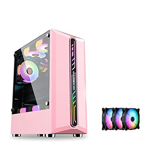 Caja De PC, Placa Base Mediana Y Pequeña, Caja De Torre Media/Caja De Consola De Juegos De Bricolaje, Placa Base Tipo ATX, Micro-ATX (Color : Pink, Size : with 3 Fans)