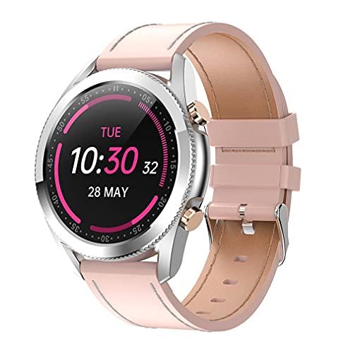 M/S I12 1.3 Pulgadas Reloj Inteligente con Pantalla táctil Ritmo cardíaco a Prueba de Agua con Llamada telefónica Correa de Cuero Rosa 1.3 Pulgadas