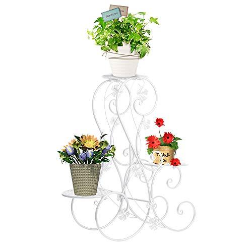 FullBerg Blumentreppen Metall Weiß - Pflanzentreppe Blumenbank - belastbar bis 20 kg - ca. 71x25x72cm - Blumen Pflanzen Dekoration in Haus/Garten/Terrasse/Flur Blumenregal Damen Geschenk