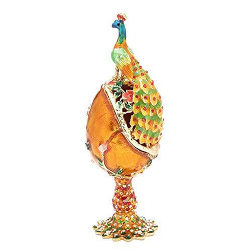 certylu Confezione di Gioielli, Scatola di Gioielli a Forma di Uovo Serie Pavone, Unica per Decorazioni pasquali