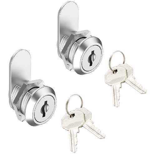 Tubular Tumbler Lock Cam Lock and Key Sets 2 Pack,Keyed Alike 5/8 Inch Cylinder Cam Locks Secure Mailbox Tool Box Replacement Lock, Chrome-Finish Zinc Alloy,4 Keys