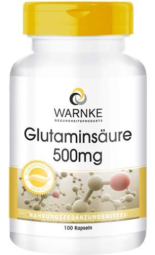 Ácido glutámico 500mg – Sustancia pura sin aditivos – 100 cápsulas