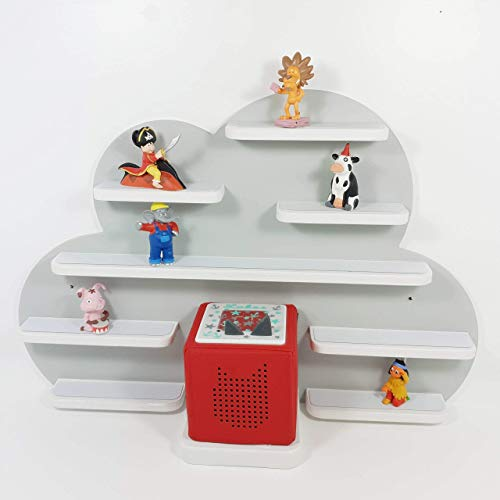 Tonie Regal, Wolke in grau mit weißen Regalen, ideale Aufbewahrung für Tonie Box und Tonie Figuren, Kinderzimmer Regal, Deko Board, Musikboxaufbewahrung, Hängeregal