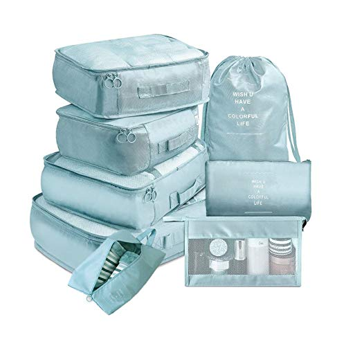 Dootie 8Pcs Packing Cubes for Travel? Cubes Set Foldable Suitcase Organizer Lightweight for Luggage Storage Bag Light Blue
