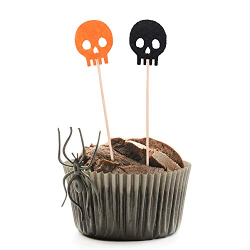 EXCEART Halloween Skull Design Cake Picks Cupcake Toppers for Baby Shower Halloween Party Supplies 24pcs/Pack -  I0271110NU