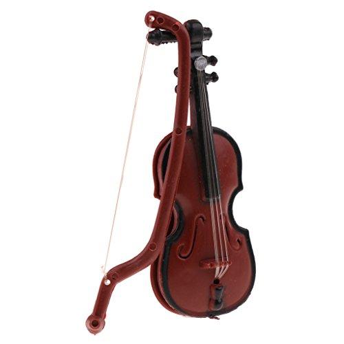 Baoblaze 1/12 Puppenhaus Zubehör Deko - Mini Kunststoff Violine/ Saxophon/ Gebogenes Rohr/ Bend Messing Musikinstrument Modell - Violine