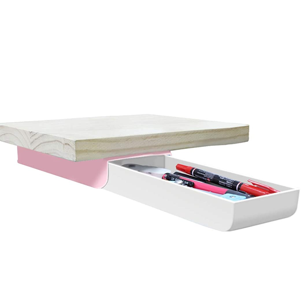 Creative Pencil Case, Large Capacity Drawer Pen Box Press Pop-Up Student Storage Multi-Function Personalised Paste Tibetan Table Bottom Pen Holder Organizer for Office School Home Desk (Pink)