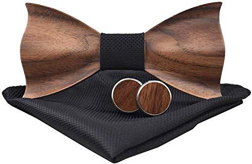 Holzfliege männer holz fliege herren klassische 3d geprägte hölzerne Fliege Set Plaid Quadrat Schal Manschettenknöpfe Lässige Massivholz Umweltschutz Set (Schwarz)
