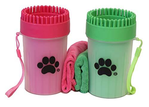 Pulitore Zampe per Cani con salvietta in Regalo | Pulisci, Spazzola e Lava Zampe Portatile in Silicone | Taglia M (Verde)
