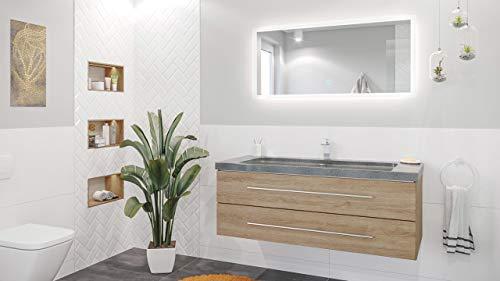 Mueble de baño Damo granito G654 130cm 1 agujero para grifo Roble claro y espejo