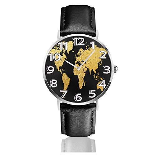 Reloj de Pulsera Mapa del Mundo Dorado Durable PU Correa de Cuero Relojes de Negocios de Cuarzo Reloj de Pulsera Informal Unisex