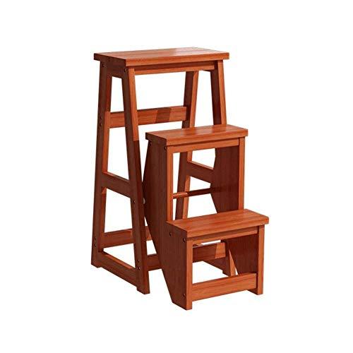 CHGDFQ Taburete de madera maciza con dos o tres escalones para el hogar, plegable, multifuncional, para escalar, silla de escalera (color: C3)