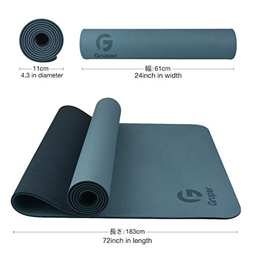 Gruperヨガマット6mmエクササイズマットフィットネスマットトレーニングマットTPEリング保護素材軽量耐久性肌に優しい両面の滑り止屋内運動ピラティスマット持ち運び収納簡単商品名称