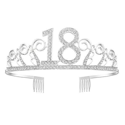 GreeStore - Coroncina per 18° compleanno, tiara in strass, corona di cristallo ideale come accessorio per feste di compleanno