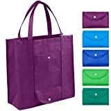 Grocery Bags Reusable Foldable for Shopping (set of 5), Foldable Into Pouch, Extra Large &...