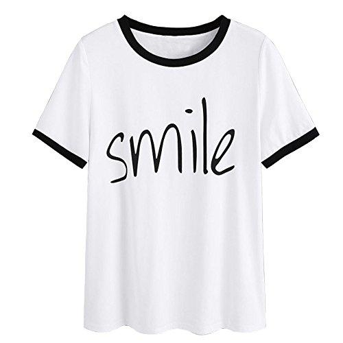 Weant Damen Sommer Bauchfrei T-Shirt, Mädchen Teenager Mode Kurzarm O-Neck Lächeln Print Shirts Lose Casual Crop Tunika Oberteile Shirt Bluse Tops