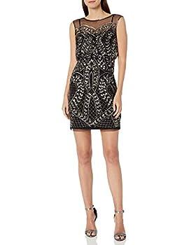 Adrianna Papell Women s Beaded Short Dress Black/Mercury 6