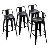 Alunaune 24' Metal Bar Stools Set of 4 Counter Height Barstools Industrial Counter Stool Kitchen Bar Chairs Indoor Outdoor-Low Back, Black