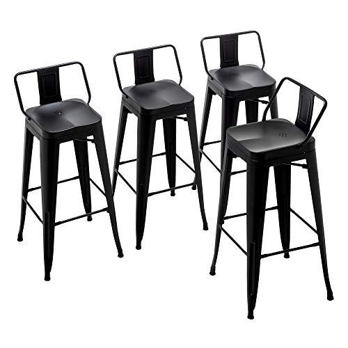 Alunaune 26' Metal Bar Stools Set of 4 Counter Height Barstools Industrial Counter Stool Kitchen Bar Chairs Indoor Outdoor-Low Back, Black