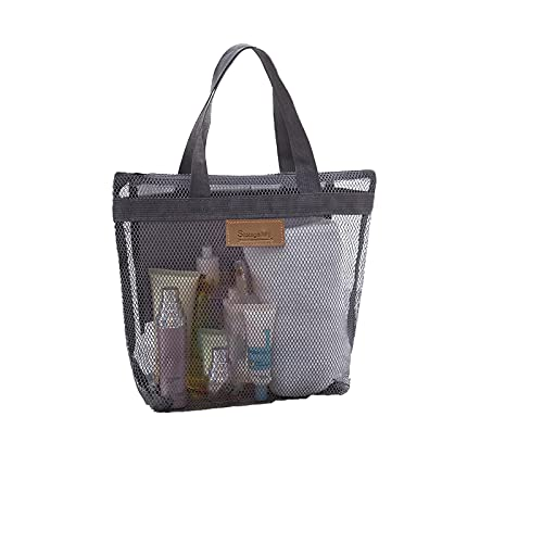 Mesh Bag Shower Caddy Tote Bag with Mesh Shoe Bag,Quick Dry Tote Bath Portable Bag,Hanging Bath Organizer for College Dorm,Beach, Gym, Swimming, Yoga and Travel (Gray)