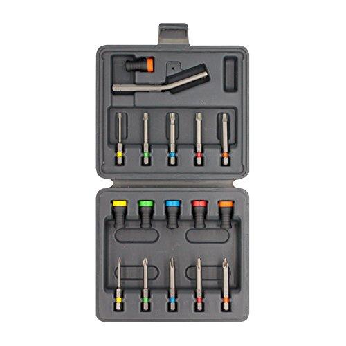 MAGNET DRIVER® SET,caja de plástico resistente con soportes magnéticos Magnet Driver y puntas de diferentes tipos para usar siguiendo el código de color. (Set de 17 Puntas y Soportes Magnéticos)