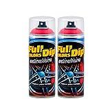 AutoFullCar - Pack 2 Spray Pintura Anticalórica Roja FullColors by Full Dip Secado Rápido Acabado Satinado