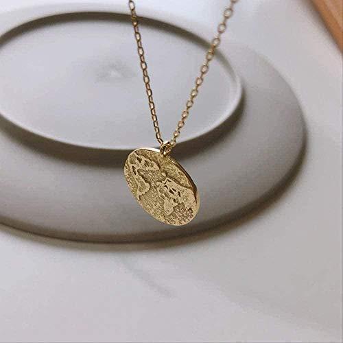 NC188 Mapa del Mundo de Plata esterlina El Collar de la brújula Colgante Redondo con Cuentas de Oro Collar Femenino Joyería Creativa Collar de Plata