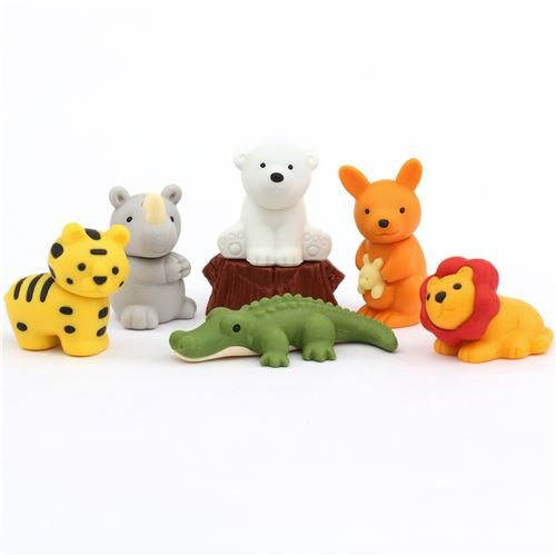 8 gomas de borrar de animales de safari Iwako de Japón