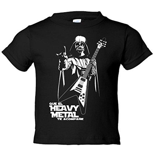 Camiseta nio Que el Heavy Metal te acompae - Negro, 12-14 aos