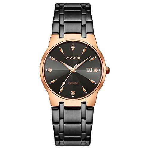 Reloj de pulsera de cuarzo para hombre, acero inoxidable y metal, color negro y dorado, resistente al agua, informal, con fecha, Rosa / negro