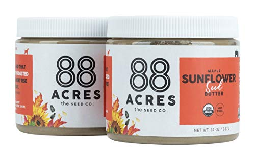 88 Acres Organic Sunflower Seed Butter   Maple   Keto-Friendly, Vegan, Gluten Free, Dairy Free, Nut-Free Non GMO Seed Butter Spread   2 Pack, 14 oz