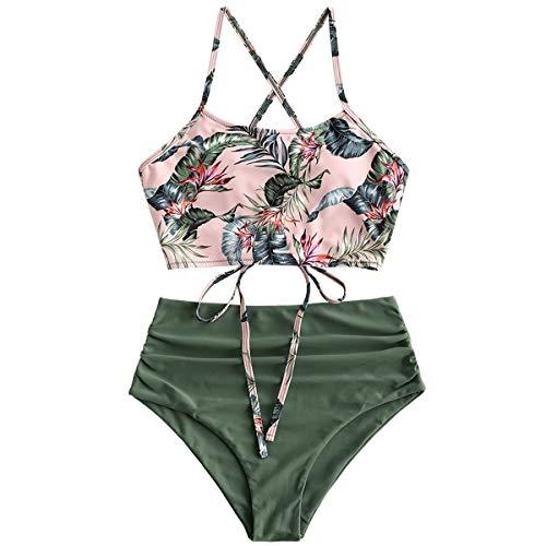 ZAFUL Damen Tankini-Set Gepolsterte Bikini Set mit Blattdruck Schn?¡ì|r Tankini Hohe Taille Badeanzug Bikinis Gr?n-1 Medium