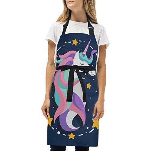 Étoile Bleue Licorne Rose Tablier Peinture de Cuisine Tabliers de Bavette pour Serveuse La Cuisson des Hommes Enfant en avec Sangle Réglable pour Le Cou et 2 Poches