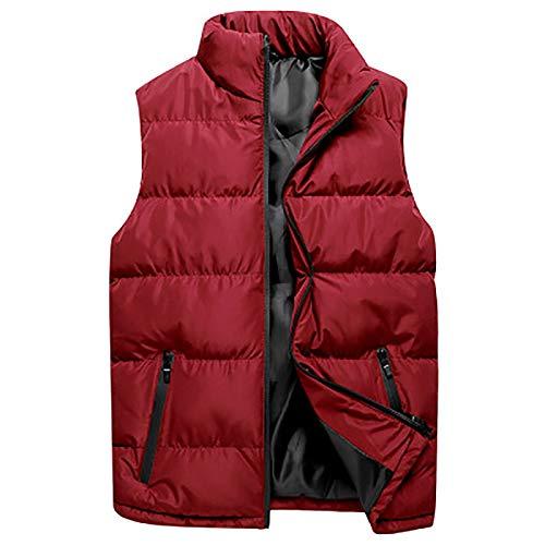 Chaleco de plumón para hombre – Chaleco de invierno cálido impermeable tipo cremallera chaqueta de secado rápido ligera al aire libre deportes