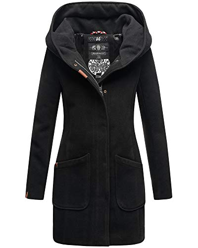 Marikoo Damen Winter Jacke Parka Damenjacke Mantel Maikoo (38, Schwarz)
