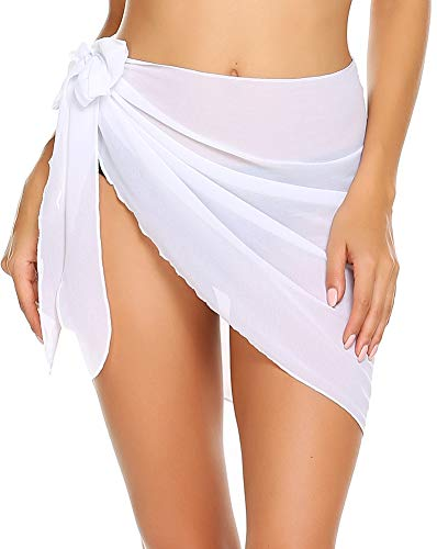 ADOME Damen Strandrock Kurz Sarong Chiffon Pareos Strand Bademode Strandschal Strandkleid Wickeltuch Cover up mit Gürtel Urlaub Sexy Weiß Frau M