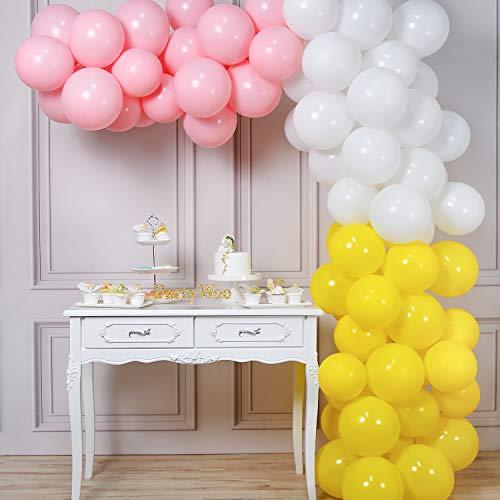 PartyWoo Roze Gele Ballonnen, 100 Stuks 10 Inch Baby Roze Ballonnen, Witte Ballonnen, Gele Ballonnen, Roze Geel Witte Ballonnen Voor Roze Gele Decoraties, Roze Limonade, Gele Verjaardagsdecoratie