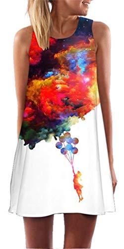 Ocean Plus Mujer Verano Tops Camisola sin Mangas Colorido Ropa Pavo Real Flores Vestidos de Playa Búho Corto A Line Vestido Cover Up (XL (EU 40-42), Globo de Nubes Coloridas Silueta)