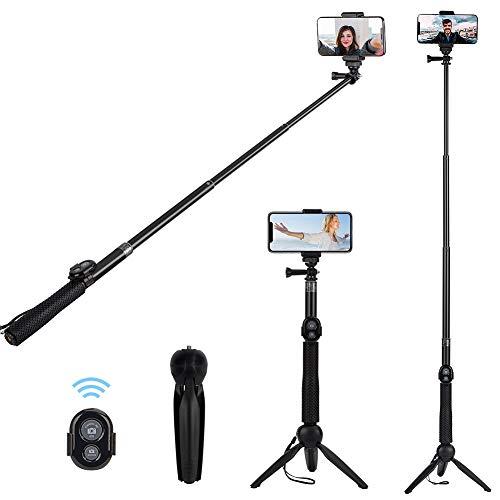 Bastone Selfie, Alfort Selfie Stick Treppiede Bluetooth Pieghevole Portatile con Telecomando Bluetooth per iPhone X / 8 / Galaxy A5 / S9 / Honor / Xperia / Gopro e Altri IOS / Android ( 6.0 Pollice )